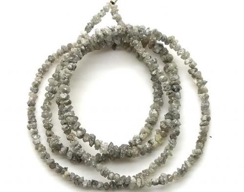 grey color uncut diamond beads