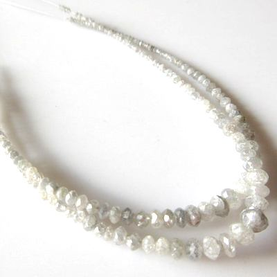 white faceted diamond beads