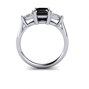 1.50ct black diamond emerald cut ring