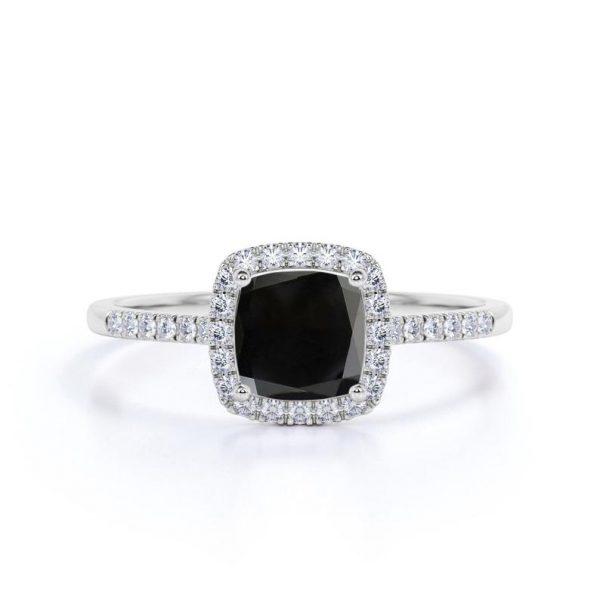 1.50ct black cushion cut engagement rings