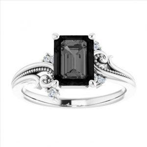 2 carat black diamond ring