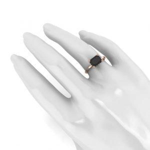 2.50ct black diamond emerald ring
