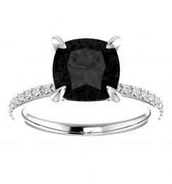 2ct cushion cut black diamond engagement ring