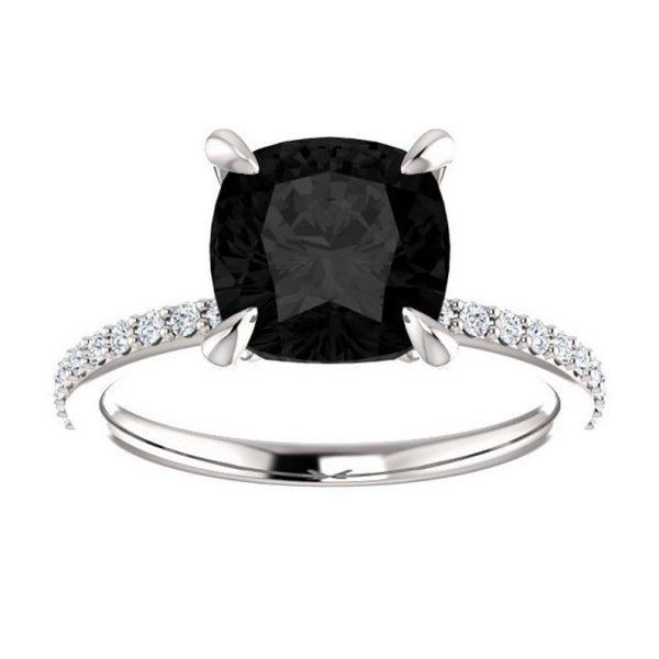 2ct cushion cut black diamond engagement ring
