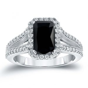 2ct black emerald cut diamond ring