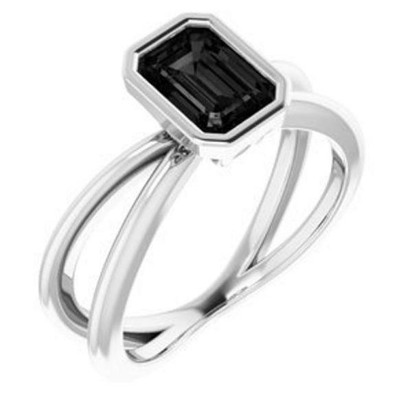 emerald cut twist ring