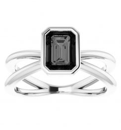emerald cut twist ring