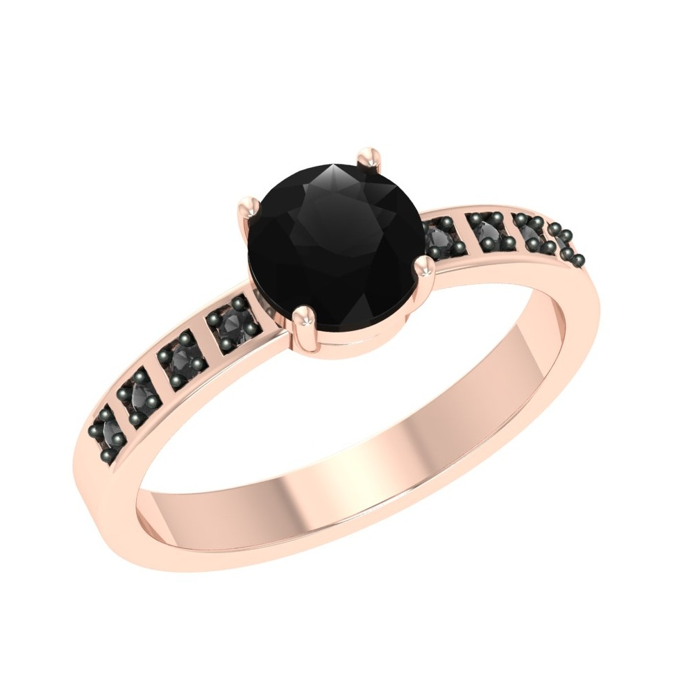 Cheap Price 1 Ct Black Diamond Rose Gold Engagement Ring