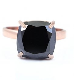 3ct cushion cut black diamond ring