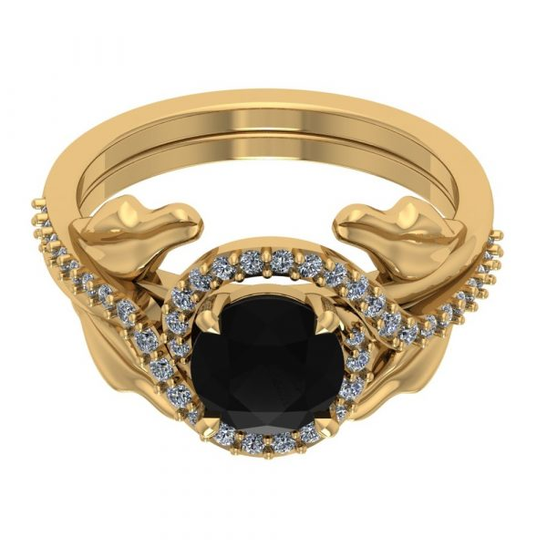 yellow gold leaf ring