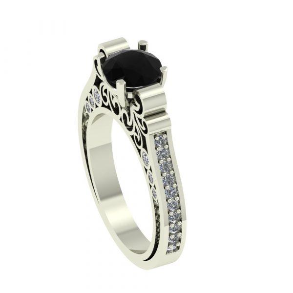 black diamond antique ring