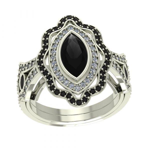 marquise cut black diamond ring