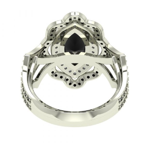 marquise cut black diamond ring