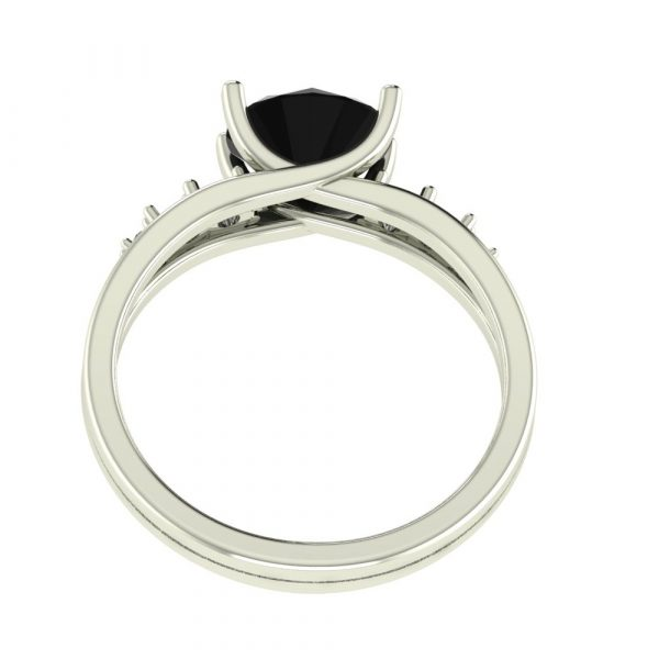 black diamond solitaire accent ring