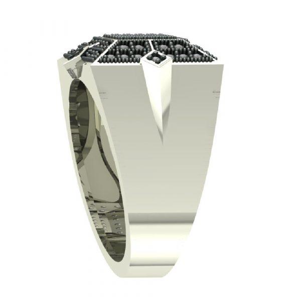 white gold hip hop ring