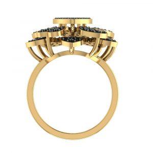 heart shape black diamond ring