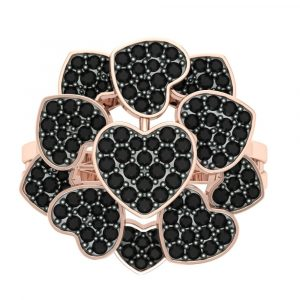 heart shape black diamond ring