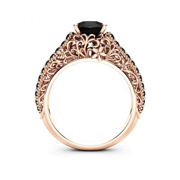 rose gold black diamond ring
