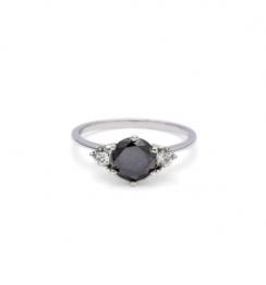 1ct 3 stone black diamond ring