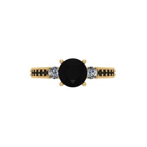 three stone rose yellow engagement ring