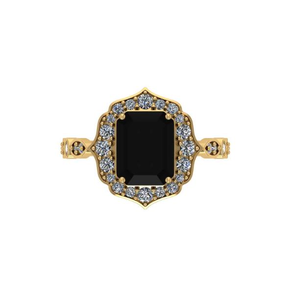 floral black emerald ring