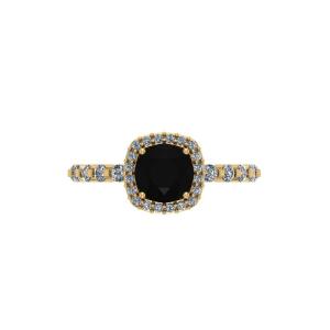 black diamond yellow gold engagement ring