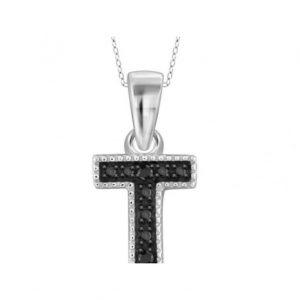 black diamond T initial pendant