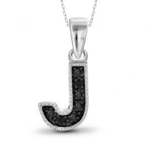 black diamond J initial pendant
