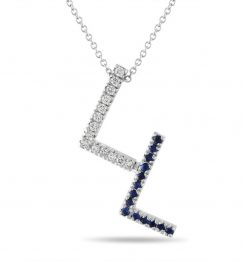 Diamond and Sapphire Initial Pendant