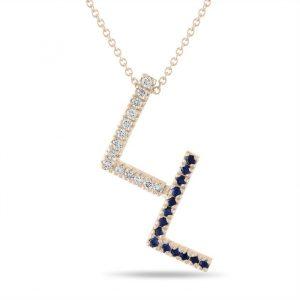 Diamond and Sapphire Initial Pendant