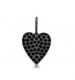 black diamond heart shape pendant