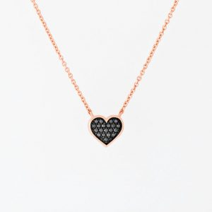 Black Diamond Micro Pave Heart Necklace