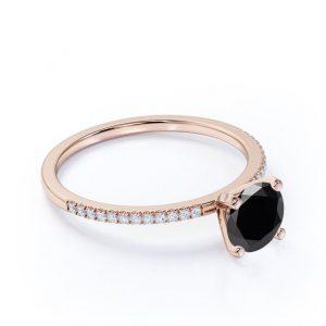 Classic Round Black Diamond Engagement Ring