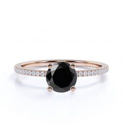Classic Round Black Diamond Engagement Ring