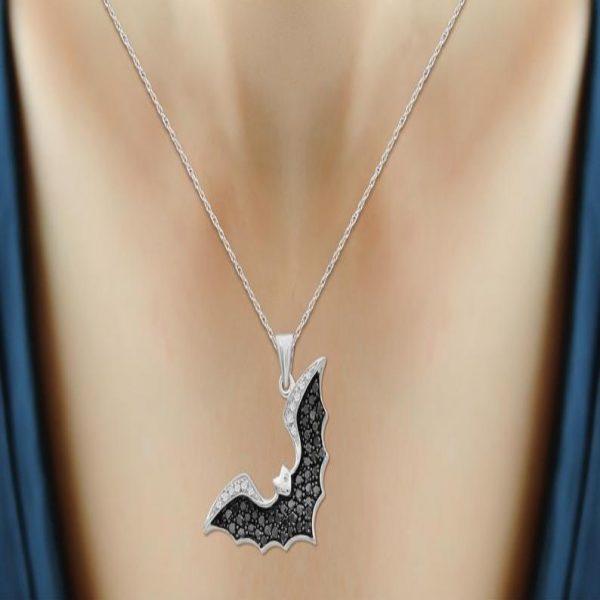 black & white diamond bat pendant