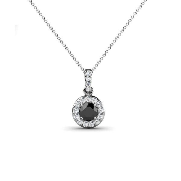 Black and White Diamond Halo Pendant