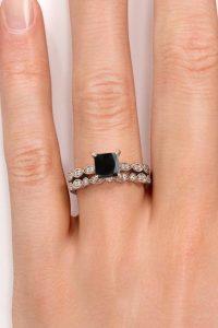 Princess Cut Black Diamond Bridal Set