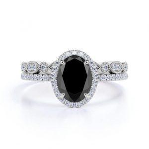 Oval Black Diamond Bridal Set