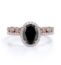 Oval Black Diamond Bridal Set