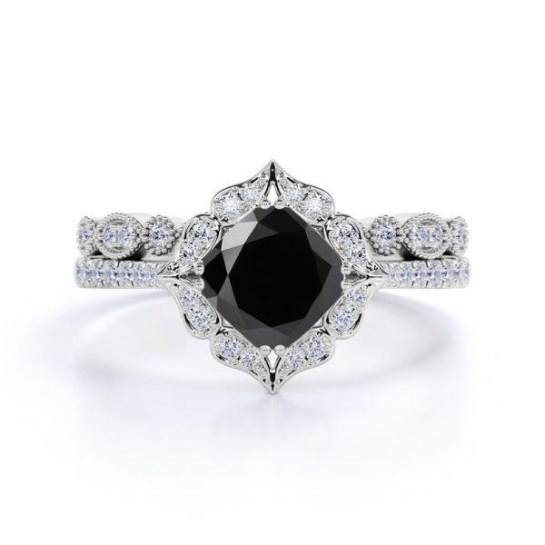Antique Black Diamond Engagement Ring