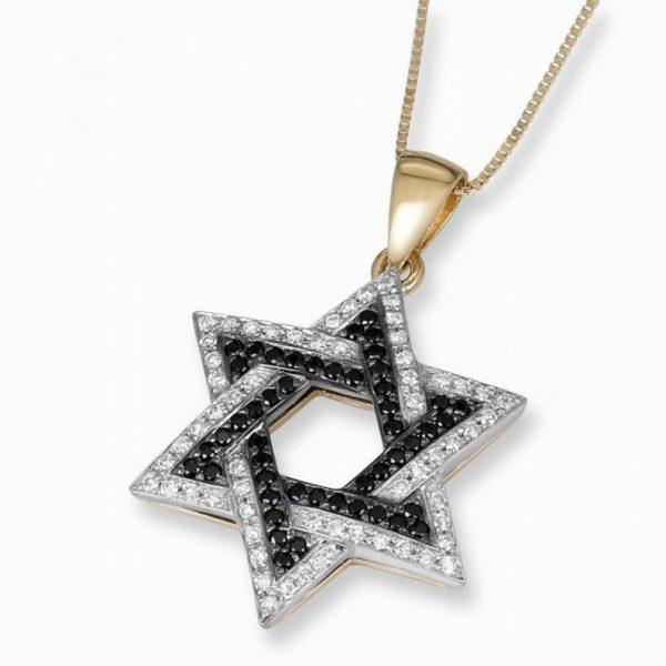 two tone star david pendant