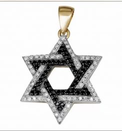 two tone star david pendant
