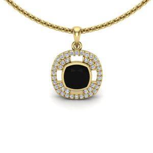 cushion cut black diamond pendant