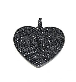 black diamond heart design pendant