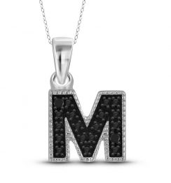 black diamond M initial pendant