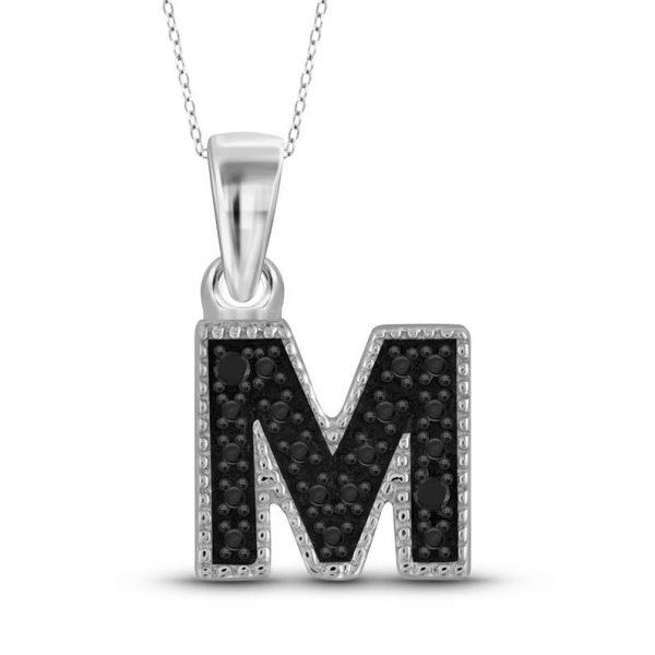 black diamond M initial pendant