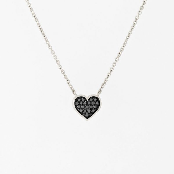 Black Diamond Micro Pave Heart Necklace