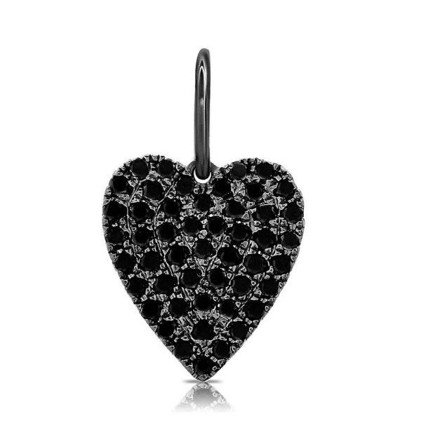 black diamond heart shape pendant