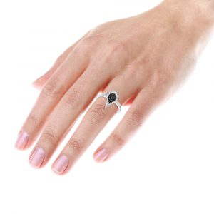 WHITE BLACK DIAMOND TEARDROP RING