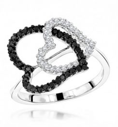 WHITE BLACK DIAMOND HEART RING